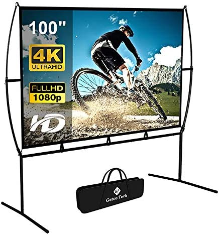 Projector Screen with Stand Foldable Portable Movie Screen 100 Inch(16:9), HD 4K Double Sided Projection Screen Indoor Outdoor Projector Movies Screen for Home Theater (100 Inch)