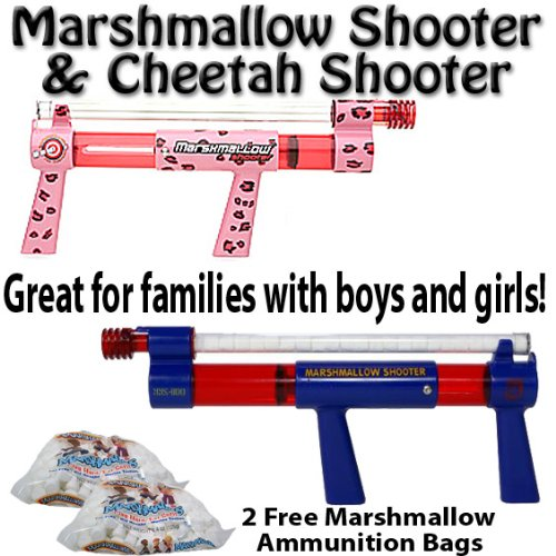 Marshmallow Shooter & Cheetah Marshmallow Shooter w/ 2 Free Bags of Ammo - Great For Families w/ Boys & Girls by Brybelly -