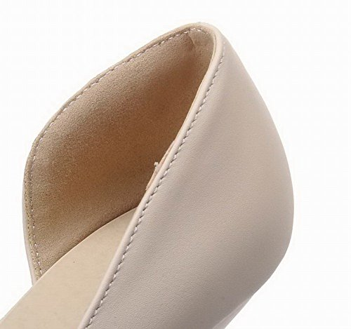Closed Sandals Heels On Solid Pull WeenFashion Kitten Toe Women's Beige Pu 567aqa