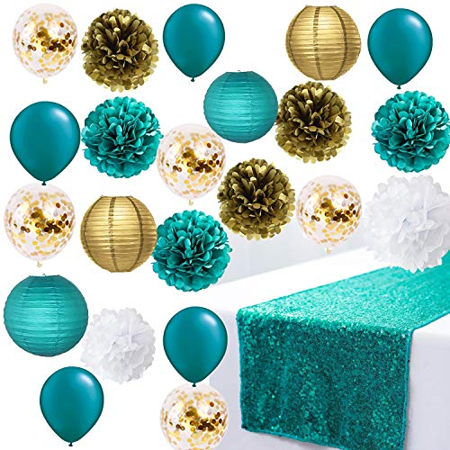 Teal Wedding/Bridal Shower Decorations Teal Blue Glitter Sequin Table Runner Engagement Wedding Banquet Ceremony Feast Birthday Anniversary Party Dining Table Decoration Teal Gold Confetti Balloons (And Glitter Teal Gold)