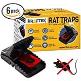Rat Trap [Special Offer] Traps - Catch Rodents Fast [Quick Effective] Trapper Pack by Kraftex [Easy to Use ZERO Contact with Rats] Protect Children, Pets, Livestock Against Diseases and Pests - 6 Pack