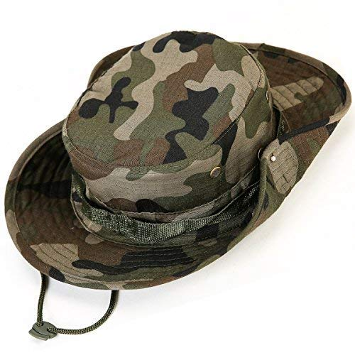 kolumb Unisex Military Boonie Hat- Premium Soft Cotton & Polyester, Sturdy Stitching Wide Brimmed Mens & Womens Boonie Hat- Top Camo Bucket Hat in Attractive Colors for Sports Fishing -