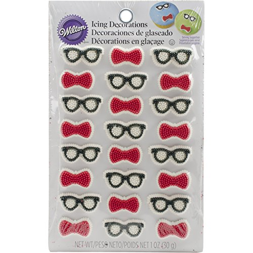 Wilton 710-2084 24 Count Bow Ties and Glasses Mini Icing Decorations