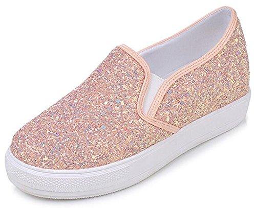 Idifu Vrouwen Unieke Pailletten Lage Top Midgreep Sleehak Slip Op Platform Sneakers Roze