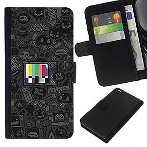 // PHONE CASE GIFT // Moda Estuche Funda de Cuero Billetera Tarjeta de crédito dinero bolsa Cubierta de proteccion Caso HTC DESIRE 816 / Cartoon TV /