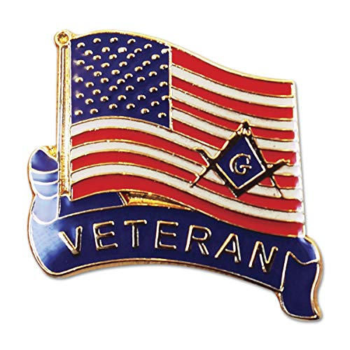 Veteran American Flag Square & Compass Masonic Lapel Pin - 1