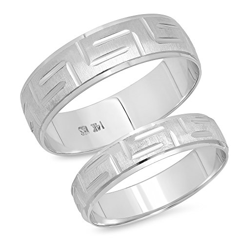 14K Solid White Gold His & Her