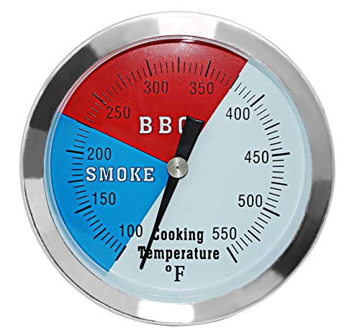 DOZYANT 3 1/8″ Larger Face 550F BBQ Barbecue Charcoal Grill Pit Wood Smoker Temp Gauge Grill Thermometer 3″ Stem Stainless Steel RWB (Renewed)