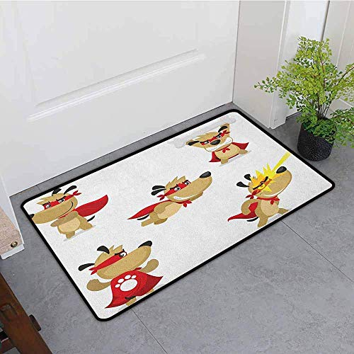 YGUII Custom Doormat,Dog Superhero Puppy with Paw Costume and Mystic Powers Laser Vision Supreme Talents,Easy Clean Rugs,16X23.6in (40x60cm), Red Cream White]()