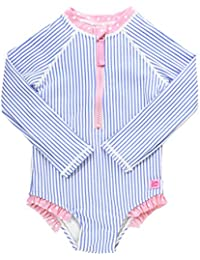RuffleButts Little Girls Long Sleeve One Piece Swimsuit - XXXX with UPF 50+ Sun Protection - 3T