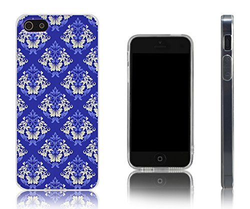 Lilware Victorian Damask Imprint Flexible TPU Gel Case For Apple iPhone SE / 5S / 5. Custom Texture of Historical, Victorian Style Wallpaper. Carrying Strap Included. Purple