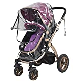 Elisona-Universal PVC Twins Front-to-Back Baby Stroller stroller rain cover Pram Buggy Transparent Pushchair Rainproof Cover Rain Cover, outdoor strolling Wind Weather Protective Cover with Zipper