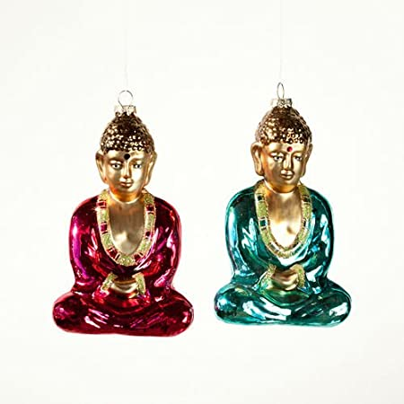 BLISSFUL Buddha Eastern Religion Glass Christmas Ornaments Set of 2 ...