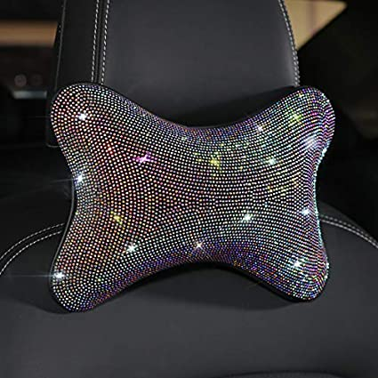 B - Headrest Simple and Elegant Design Neck Cushion Cervical Support Pillow Pad For Relieve Neck Fatigue Pain With Adjustable Elastic Strap Car Headrest Pillow with Bling Matrix Diamond 1 Pack