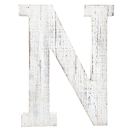 Distressed White Alphabet Wall Décor / Free Standing Monogram Letter ''N''