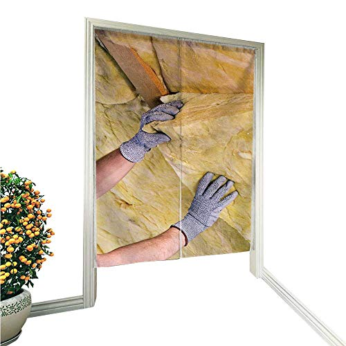(PRUNUS Doorway Curtain NorenMineral Rock Wool with a Worker in Gloves for Home Decoration 33.5