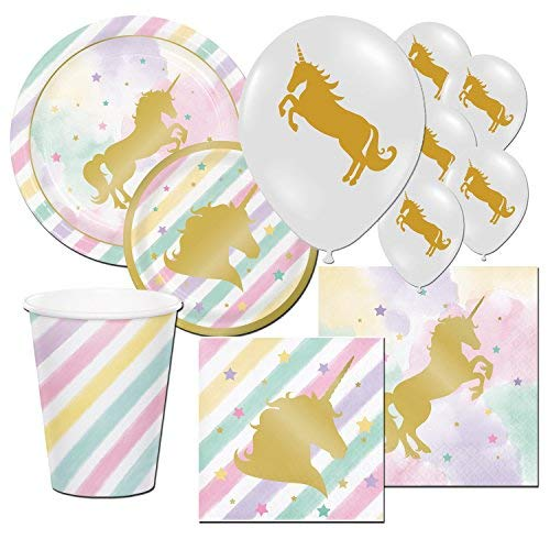 Premium Unicorn Sparkle Pony Girl's Childrens Birthday Party Tableware Balloon Pack Kit For 16]()