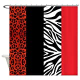 zebra fabric shower curtain - Red Leopard And Zebra Animal Print - Decorative Fabric Shower Curtain 72x72inch