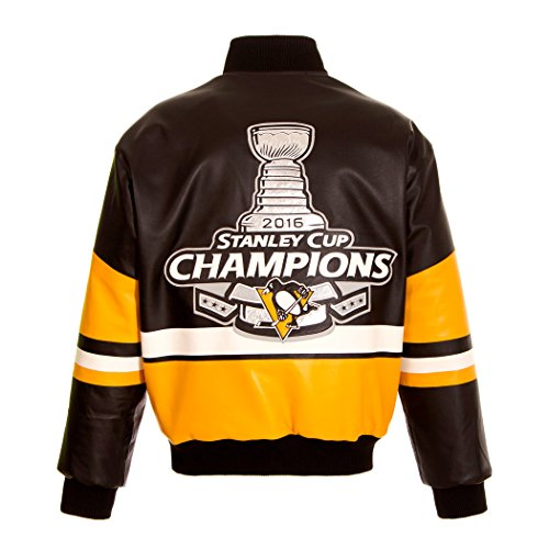 NHL Pittsburgh Penguins 2016 Stanley Cup Champions Men's Leather Jacket (5X)