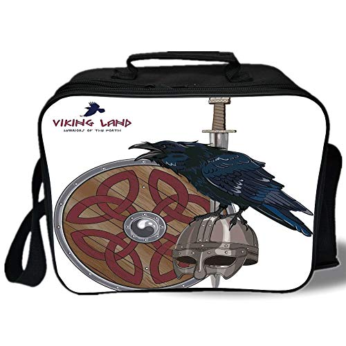 Viking 3D Print Insulated Lunch Bag,Raven on Steel Helmet Nordic Sword Shield Warfare Scandinavian Army Medieval Armour,for Work/School/Picnic,Black White -