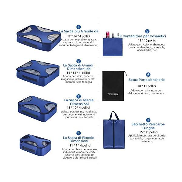 CISHANJIA Organizer Valigie Set di 7 Cubo di Viaggio Cubi di Imballaggio con Contenitore per Cosmetici, Sacca… 5 spesavip
