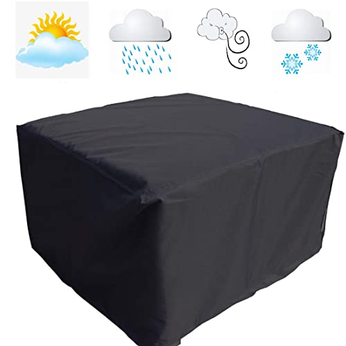 FLR 66in Patio Table Cover Veranda Rectanguler Black Waterproof Outdoor Dinner Protector Dust-Proof Table Desk Cover Furniture Covers with Storage Bags for Garden Outdoor Indoor Furniture Table