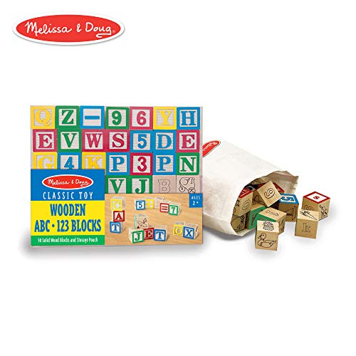 (Melissa & Doug Deluxe Wooden ABC/123 Blocks Set (Developmental Toys, Storage Pouch, 1-Inch Wooden Blocks, 50)