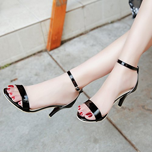 Los Tacón Alto Zapatos Línea Dorada Elegante Con Ranurada Sandalias black Hebilla Y Toe Minimalista De Y Rocío qrtrFER