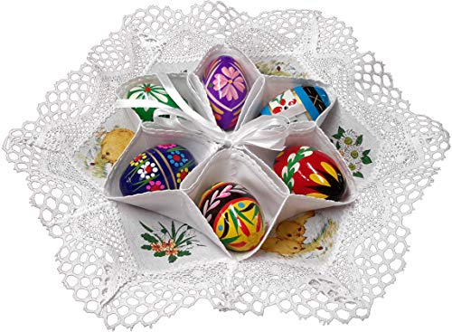 Traditional Polish Easter Egg Display Holder Centerpiece with 6 Wooden Eggs