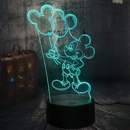 Cute Holding Balloon Mickey Mouse Cartoon 3D LED Night Light Desk Table Lamp Child Birthday Christmas Gift Home Decor (Mickey) ()