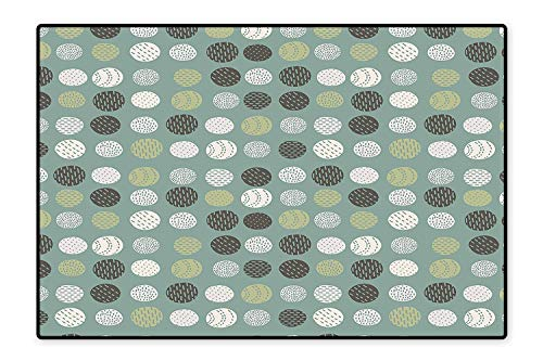(Area Rug for Kid Retro Vintage 60s Home Design Inspired Modern Circles Art Sage Green Olive Green and White Easy Clean Stain Fade Resistant 6'x9')