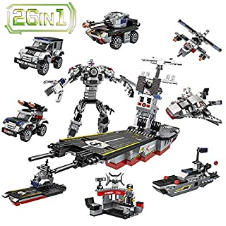 Lucky Doug 1013PCS Building Bricks Set, 26 in 1 Aircraft Carrier Building Toys Can Build Transformers Maritime Command Center, Building Blocks Set Compatible with All Major Brands for Kids Ages 6+