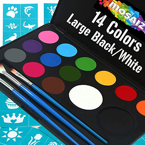 Face Paint Kit Non-Grease 14 Colors (Incl Large Black and White 3 Brushes 30 Stencils) Water-Based Face and Body Paints Kit for Kids Or Professional - Safe Facepainting for Sensitive Skin ()