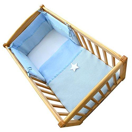 Clair de Lune Soft Waffle Star 2 Piece Rocking Crib/Cradle Quilt & Bumper Bedding Set, Blue