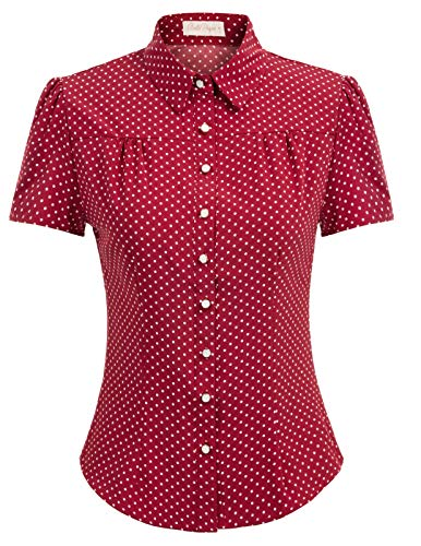 Womens Blouses and Tops for Work Short Sleeve Button Down Shirt X-Large Wine (Vintage Button Down Shirts)