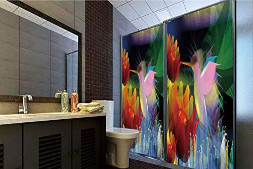 Horrisophie dodo 3D Privacy Window Film No Glue,Art,Fantasy Digital Paint with A Bird Swallows Honey from Flower Stock Fractal Artwork Decorative,Multicolor,47.24