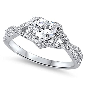 Heart Clear CZ Halo Promise Ring .925 Sterling Silver Infinity Band Sizes 4-12 Cyber Monday Deal 2015