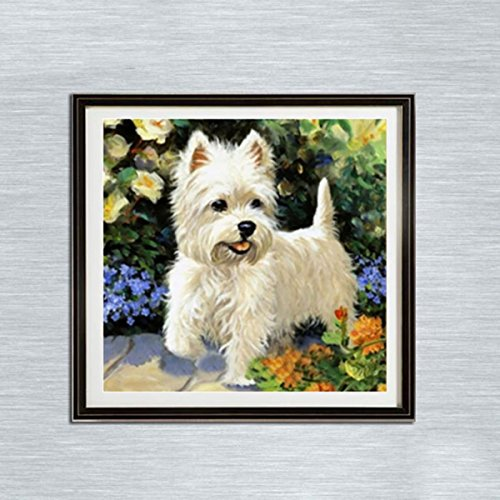 Leezeshaw 5D DIY Diamond Painting by Number Kits Fameless Rhinestone Embroidery Paintings Pictures for Home Decor - White Dog(11.8x11.8inch/30x30cm)