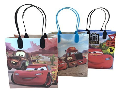 Disney Nickelodeon Marvel Birthday Goodies Gift Favor Bags Party Supplies - 12 Pieces (Cars - Red)