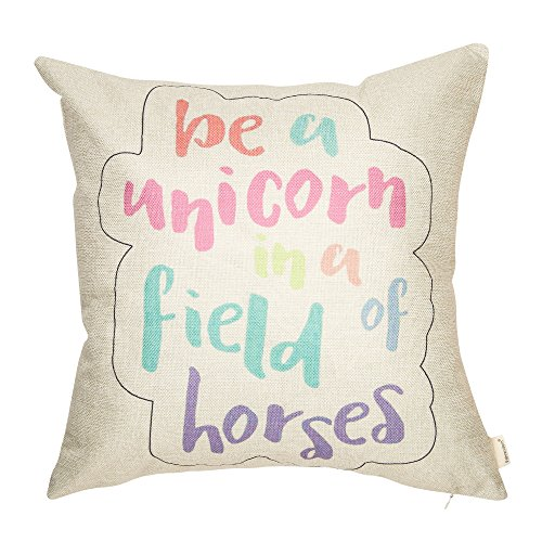 Fahrendom Pastel Nursery Décor Be a Unicorn in a Field of Horses Motivational Sign Inspirational Quote Decoration Cotton Linen Home Decorative Throw Pillow Case Cushion Cover for Sofa Couch 18 x 18 In (Horse Room Decor Pillows)