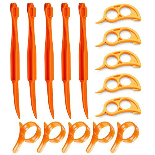 Orange Citrus Peelers, Cosmer Set of 15 Plastic Easy Slicer Cutter Peeler Remover Opener Kitchen Accessories Knife Cooking Tool Kitchen Gadget