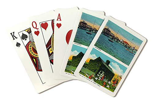 Nantucket, Massachusetts - View of Waterfront, Old Ivy Cottage on Liberty St (Playing Card Deck - 52 Card Poker Size with Jokers) (Waterfront Cottage)