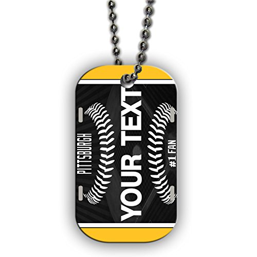 (BleuReign(TM) Personalized Custom Name Baseball Pittsburgh License Plate Single Sided Metal Military ID Dog Tag with Beaded Chain)
