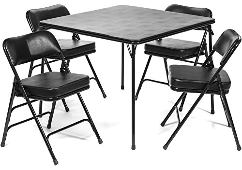 5pc. XL Series Folding Card Table and 2 in. Ultra Padded Chair Set, Commercial Quality, Black by Folding Chairs and Tables
