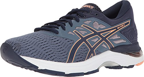 ASICS Womens Gel-Flux 5 Running Shoe, Blue/Canteloupe/Peacoat, Size 8.5