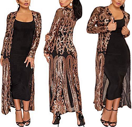 PROMLINK Sequin Cardigans for Women Long Sleeve Open Front Club Dress Coat Black
