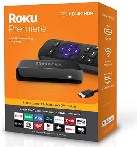 Roku Premiere | HD/4K/HDR Streaming Media Player Simple Remote and Premium HDMI Cable, Black