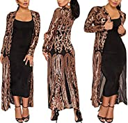 PROMLINK Women's Sequins Cardigan Jackets Long Sleeve Duster for Evening