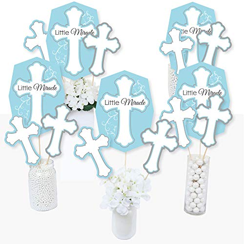 Little Miracle Boy Blue & Gray Cross - Baptism or Baby Shower Centerpiece Sticks - Table Toppers - Set of 15 ()