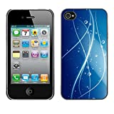 LASTONE PHONE CASE / Slim Protector Hard Shell Cover Case for Apple Iphone 4 / 4S / Cool Lines Water Blue Pattern